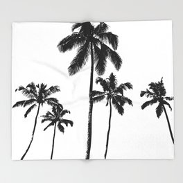 Monochrome tropical palms Throw Blanket