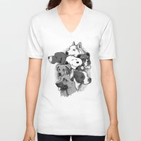 dogs V-neck T-shirts featuring Dogs by Ronan Lynam
