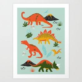 Jurassic Dinosaurs in Blue + Red Art Print