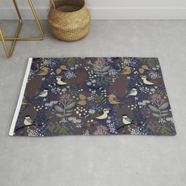 Winter Bird Pattern Rug