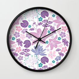 Purple and pink Japanese pond foral Wall Clock