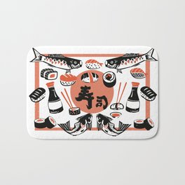 Sushi And Soy Sauce Bath Mat