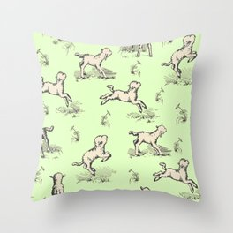 Little Sheep jumping in the meadow Throw Pillow