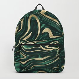 Emerald Green Black Gold Marble #1 #decor #art #society6 Backpack