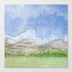 Snowy Watercolor Landscape Canvas Print
