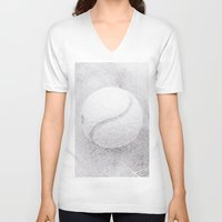 tennis V-neck T-shirts featuring Tennis #2 by Yilan