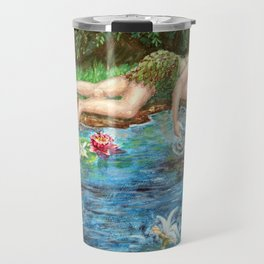 Midsummer Daydream painting, woodsprite and fairies at the lily pond Travel Mug