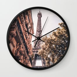 Paris Eifel Tower Pink photography in HD Wall Clock