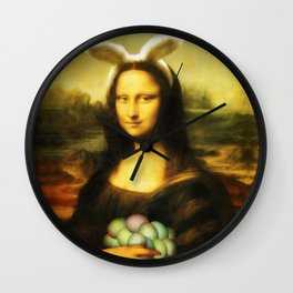 Easter Mona Lisa with Bunny Ears and Colored Eggs Wall Clock