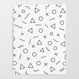 Memphis Geometry ((black on white)) Poster