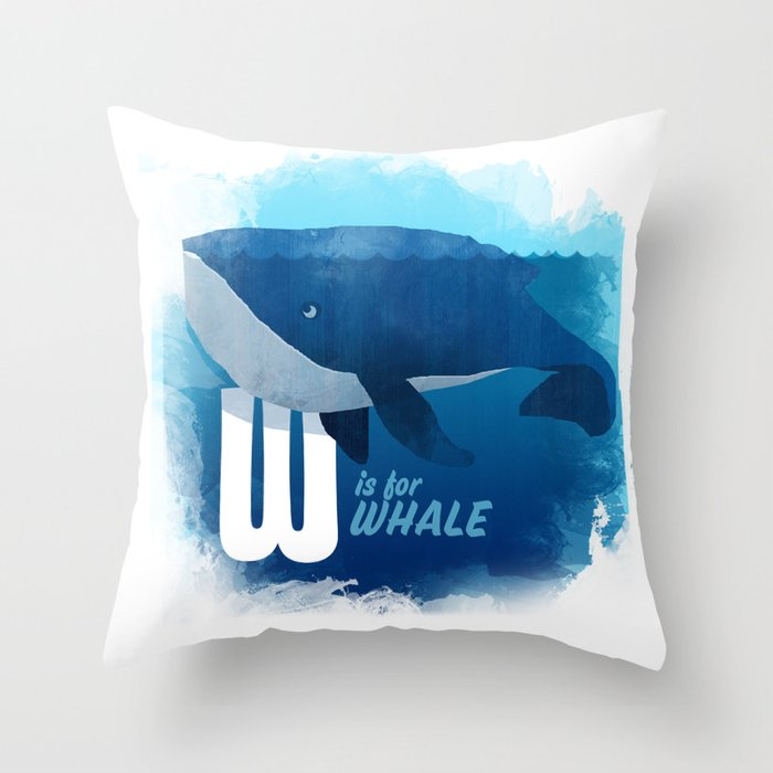 W is for Whale Throw Pillow