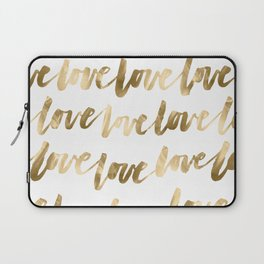Gold Love Quote Pattern Typography Script 2 Laptop Sleeve