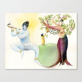 Krishna & the tulasi plant Canvas Print