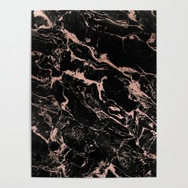 Modern girly faux rose gold foil black marble Poster