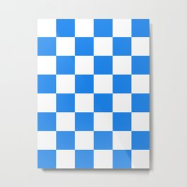 Large Checkered - White and Dodger Blue Metal Print