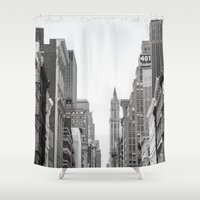 broadway Shower Curtains featuring Broadway - NY by Basma Gallery