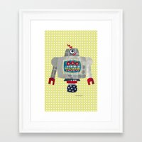 50s Framed Art Prints featuring pete 50s retro robot by blossyfloss