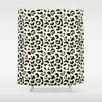 leopard Shower Curtains featuring Leopard by Laura Maria Designs