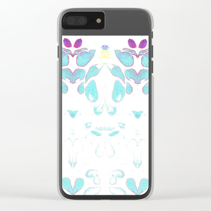 Summer Vibes, Blue and Purple Neon Leaves Clear iPhone Case