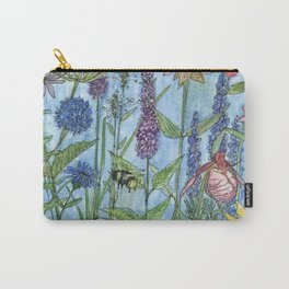 Lady Slipper Orchid Garden Flower Botanical Floral Watercolor on Canvas Carry-All Pouch