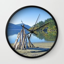 LATE SUMMER ON CRESCENT BEACH ORCAS ISLAND Wall Clock