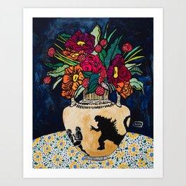 Godzilla Greek Urn with Peony Bouquet Winter Floral Still Life Painting Art Print