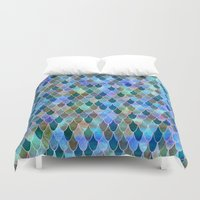 mermaid Duvet Covers featuring Mermaid by Schatzi Brown