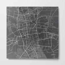 Lodz Map, Poland - Gray  Metal Print
