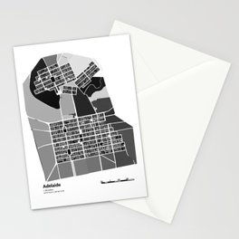 ADELAIDE BLACK & WHITE MAP Stationery Cards