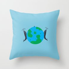 Blue Whales Love Song Throw Pillow