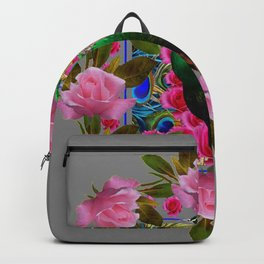 GREY COLOR PINK ROSES &  GREEN PEACOCK ART Backpack