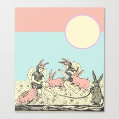 Frolicking Bunnies Canvas Print