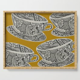 Morning Cuppa! - tea coffee lover zentangle Serving Tray