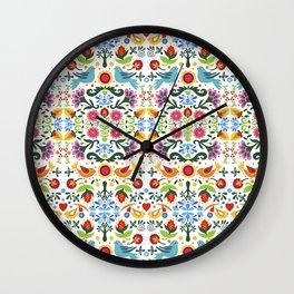 flower folk art Wall Clock
