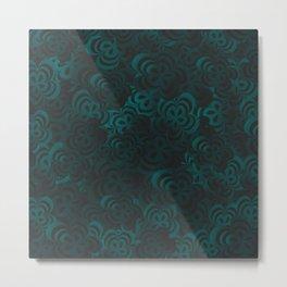 Aqua Floral Velvet Metal Print