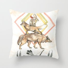 AZTEC Animals with Bow Throw Pillow