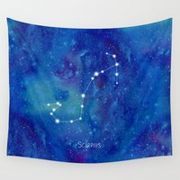 constellation Wall Tapestries featuring Constellation Scorpius by ShaMiLa