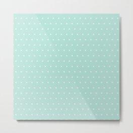 Aqua blue and White cross sign pattern Metal Print
