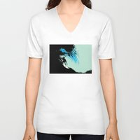 surfing V-neck T-shirts featuring Surfing by CSNSArt
