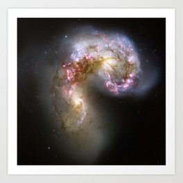 "Colliding galaxies ""make love, not war"" Planet Prints Art Print"