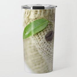 Coffee beans in still life  in jute sack Travel Mug