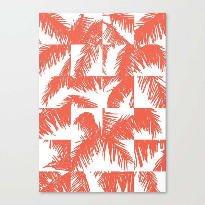 Palm Leaf Pattern Orange Canvas Print By Theoldartstudio