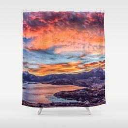 Sunset Pano // Beautiful Rocky Mountain Lake View Colorado Red Orange Sky Shower Curtain