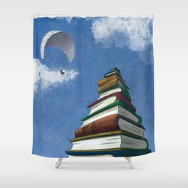 Paragliding - Mountain of Books Shower Curtain