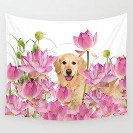 Labrador Retrievers with Lotos Flower Wall Tapestry