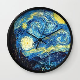 Starry Night Tardis Art Painting Wall Clock