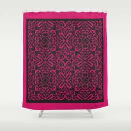 Courage of her Conviction Tiled - Fuchsia Black Shower Curtain