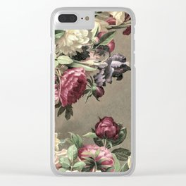 Vintage bouquet taupe burgundy Clear iPhone Case