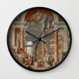 Picture Gallery with Views of Modern Rome Wall Clock