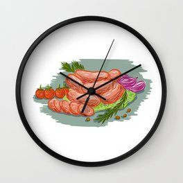 Pork Sausages Vegetables Drawing Wall Clock